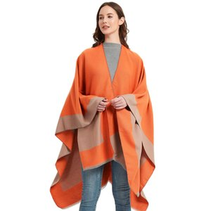 designer Fashion Blankets travel air conditioning Blanket ladies cloak TR cotton solid color split shawl in stock