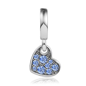 Sterling Silver Jewelry Stellar Blue Pavé Tilted Heart Dangle Charm Fits Beaded Snake Chain Bracelets Woman DIY Beads For Make Up 2021 Autumn Wholesale