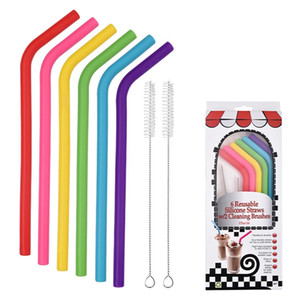 6 unids + 2Brush / set 23cm Color Candy Colors Silicone Paja Reutilizable Doblado Bent Straw Straw Bar Accesorio Accesorio Silicona Tube Lla376