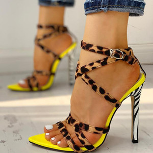 Venta caliente-verano tacones altos mujeres sandalias con rayas leopardo puntiagudo apuntado punta abierta damas bombas damas cruz strack stiletto stiletto fiesta zapatos de boda