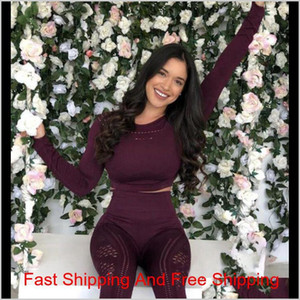 Fashion Seamless Yoga Set Sport Suit Workout Clothes For Women Long Sleeve Gym Crop Top High Waist Leggings Fitnes qylXUC lyqlove