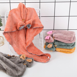 Hair-drying Cap Hair Drying Bath Wrap Womens Girls Coral Fleece Quick Dry Hair Hat Cap Turban Head Wrap Hooded Absorbent Towel WMQ550