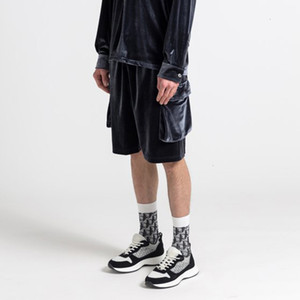 New 2021 High Street Side Pocket Fleece Summer Shorts Mens Elastic Waist Soild Loose Casual Knee Length Pants Oversize Hip Hop Short L45A