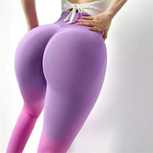 Women's Leggings High-Waisted Peach Hip Gradient Color Fitness Pants Hip-Lifting Elastic Tight-Fitting Sports Running Training Yoga Woman