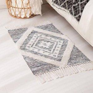 Carpets 60*90 Bohemian Carpet Hand Woven Cotton Linen Rug Bedside Geometric Floor Mat Living Room Bedroom Home Decor