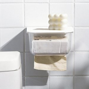 Toilet Paper Holders Wall Mounted Transparent Tissue Box Minimalist With Lid Upside-Down Design PET Portable For Bathroom