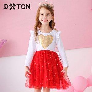 DXTON Princess Heart Lovers Girls Winter Long Long Clothing Tutu Flare Mouw Kids Vestido de fiesta
