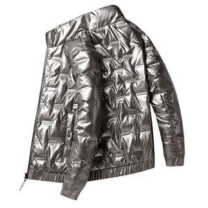 Shiny Fabric Down Jacket Men Stand Collar Good Quality White Duck Warm Winter Men's Parka Waterproof Coat Plus Size 5xl My311