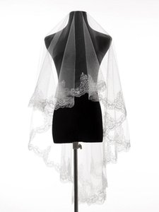 Bridal Veils 100% Real Po Lace Edge One Layer Wedding Accessories Tulle Appliqued Veil With Comb