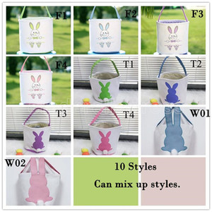 DHL Easter Egg Storage Basket Canvas Bunny Ear Bucket Creative Easter Gift Bag With Rabbit Tail Decoration 8 Styles