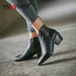ENMAYER 2020 Ankle Boots For Women Basic Round Toe Spike Heels Genuine Leather Boots Women Zip Short Plush Black 34 39 Sporto Boots Bo 80qr#
