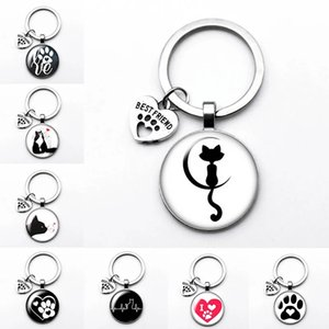 Love Cat Pet Footprints Dogs Glass Cabochon Keychain Bag Car Key Chain Ring Holder Charms Keychains for Men Women Gifts