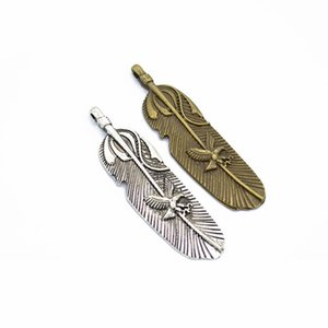 Large Size Bulk 100pcs lot Feather Charms Pendant with eagle design DIY Metal Jewelry Making 56x35m