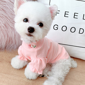 Dog Clothes Puff Sleeve Clothes Teddy Pomeranian Small Dog Pet Apparel Cat Clothes 3 Color Spring and Autumn XD24530