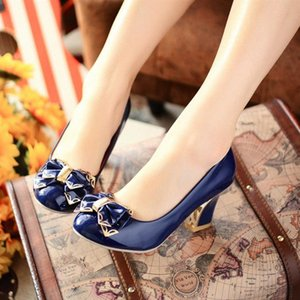 Wholesale 2016 Spring And Autumn Shoes Thick Heel Bow In With The Womens Shoes Customize Plus Size Shoes Mens Sandals Mens Trainers Fr W2aB#