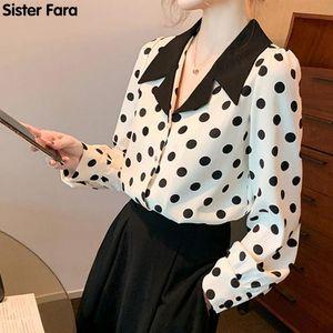 Women's Blouses & Shirts Sister Fara Print Polka Dot Shirt Summer Thin Chiffon Turn-down Collar Blouse Spring Long Sleeve Ladies Casual