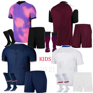 2020 2021 MBAPPE ICARDI NAVAS PURPLE VERRATTI PINK KIT DE NIÑOS CON SOCKS SOCTER JERSEY 20/21 Ander Herrera Moise Camisetas de fútbol infantiles