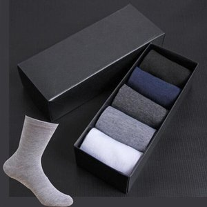 Men's Socks 2021 Cotton Styles 5 Pairs   Lot Black Business Men Breathable Spring Summer For Male US Size(6.5-12)