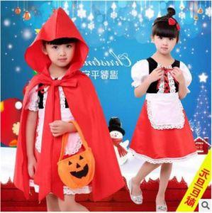 Girl's Dresses Christmas Children Performances Girls Halloween Little Red Riding Hood Costume Princess Dress+Apron+cloak+pumpkin Bag+hairpin