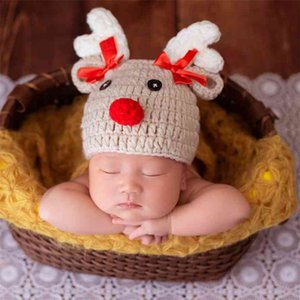 Christmas Deer born Cartoon Crochet Knitted Bowknot Baby Hat Pography Props 0-2 Month 210528