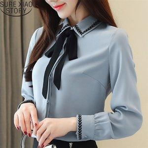Kore Moda Giyim Ofis Bayanlar Tops Uzun Kollu Şifon Bluz İnce Yay Sonbahar Bluz Blusas Mujer De Moda Y200828