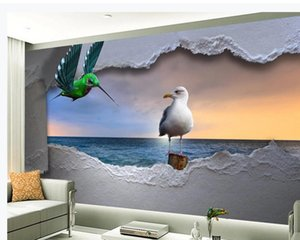 Европейский стиль 3d стереоскопические обои морские трехмерные летающие птица закат пейзаж обои фоновые стены