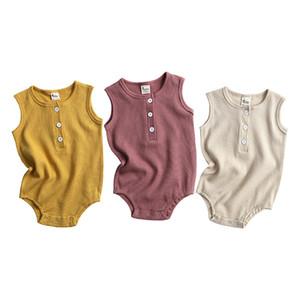 KT INS Baby Kids Boys Girls Rompers Knitted Cotton Front Buttons Sleeveless Unisex Plain Summer Newborn Jumpsuits Climb Cloths Bodysuits