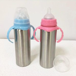 Water Bottles 8oz Stainless Steel Sippy Cup Kids Tumbler Vacuum Insulated Cups Baby Milk Bottle With Handle Gift For Born