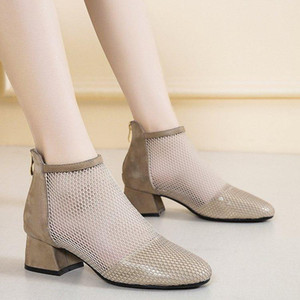 back zipper sandals women 2021 thick-heeled breathable suede
