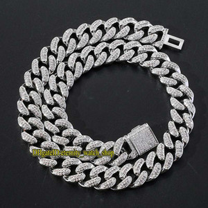 eternity new 15mm diamonds inlaid Cuban chain boutique hip hop necklace high quality flip clasp Iced Out diamond hiphiop large gold chain