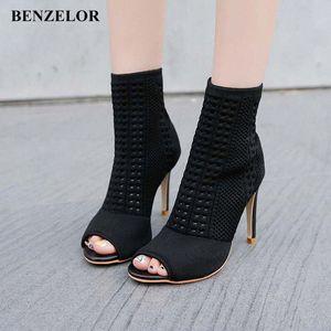 Benzelor 2018 Осень зима Новый Peep Toe Женская Обувь Женщина Ботинки Тонкая супер высокие каблуки Мода Дамы Boot Black N17 O9of #