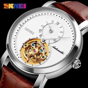Skmei Moda Negócios Assistir Automático Homens Mecânica relógios de pulso Mens Giroscópio Decoração de Couro Relógio Relogio Masculino