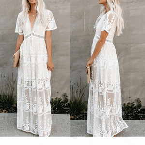 Women elegant lace embroidery dress short sleeve sexy v-neck hollow out summer maxi white party dress spring long casual prom evening dress