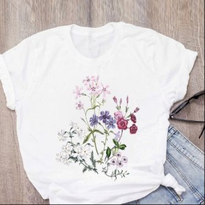 Women Graphic Flower Plant 90s Print Girl Short Sleeve Summer Lady Tops T Shirt Womens Clothing Tees Female T Shirt