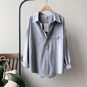 Women's Polos Real S Shirt Cotton Suede 2021 Spring Profile Long-sleeved Western-style Vintage