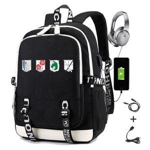 Ataque de mochila em Titan Impressão Estilo Estilo Estagiário Estagiário Squad Scouting Legion USB Carregando Laptop Travel Bag