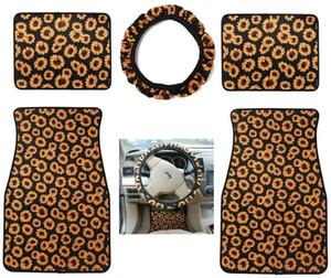 5pcs set Customized Neoprene Car Floor Mats Steering Wheel Cover Set 30 Design Car Foot Mat Skull Head Sunflower Tie-dye Leopard Print
