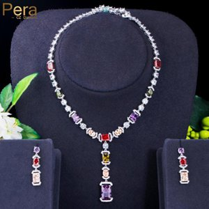Earrings & Necklace Pera Fantastic Multicolor Cubic Zirconia Long Geometry Pendant Sets For Bridal Engagement Party Jewelry J470