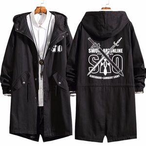 2021 New Men Anime Sword Art Online Kirigaya Kazuto Long Coat Hoodie Sao Cosplay Trench Jacket Sweatshirt Thicken Overcoat WVHB