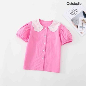 Summer New Girls Clothes O-Neck Lace Collar Casual Solid Blouse 210413