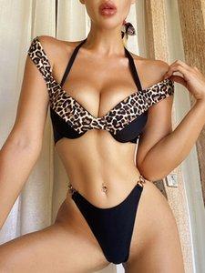 Traje de baño de zafille 2 pieza bikini femenina 2021 descuento en el hombro traje de baño con hebilla de metal bikini empuje hacia arriba traje de baño micro bikini Q0120