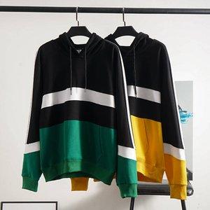 Причинные мужские хлопковые толстовки Спорт с капюшоном Джемпер Мужчины Пуловер Свитер Хип-Хоп Улица Контрастный дизайн S-2XL # 3816