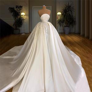 Gorgeous Satin Muslim Wedding Dresses Pearls Crystal Customized Dubai Arabic Bridal Gowns Vestido De Noiva Sweep Train Bride Dress
