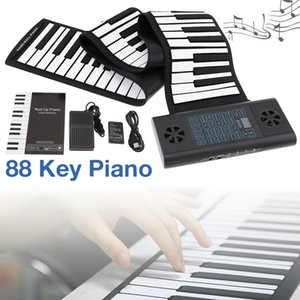 88 Keys MIDI Roll Up Piano Rechargeable Electronic Portable Silicone Flexible Keyboard Organ Built-in 2 Speakers