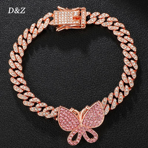 DZ NUEVO Pulsera de enlaces cubanos con mariposa Bling Iced Out Rhinestone Miami Link For Hip Hop Street Brazalets Jewelry