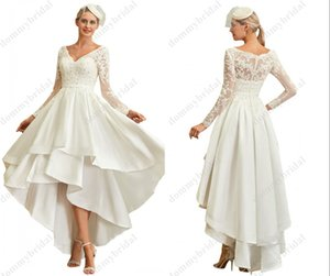 Vintage Off the shoulder High Low Wedding dresses 2021 Cheap Hi Low with Long Illusion Sleeves Applique Satin Wedding Dress Bridal Gowns