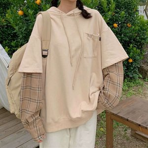 Deeptown Kore Tarzı Kazak Sonbahar Moda Gevşek Hoodies Kadınlar Pamuk Uzun Kollu Üst Streetwear Ekleme Hoody