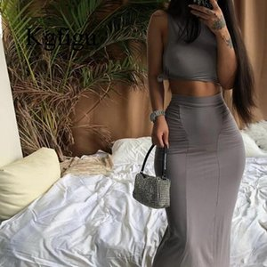2021 New Sexy Gray Two Piece Set Women Bandage Tank Tops Slim Elegant DRESS Matching sets Night Club Outfits