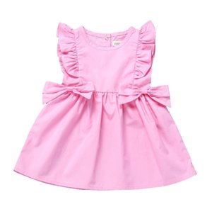 Kids Infant Girls Sleeveless Summer Dress Ruffle Flounce Sleeve Solid Short Dresses With Side Bows Party Princess Skirt 80-120cm H23IJY0