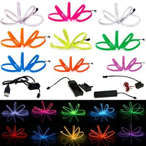 Flexible Neon Light 1m - 5m Glow LED EL Wire Rope tape Cable Strip waterproof LED Neon Lights Shoes Clothing Car + controller